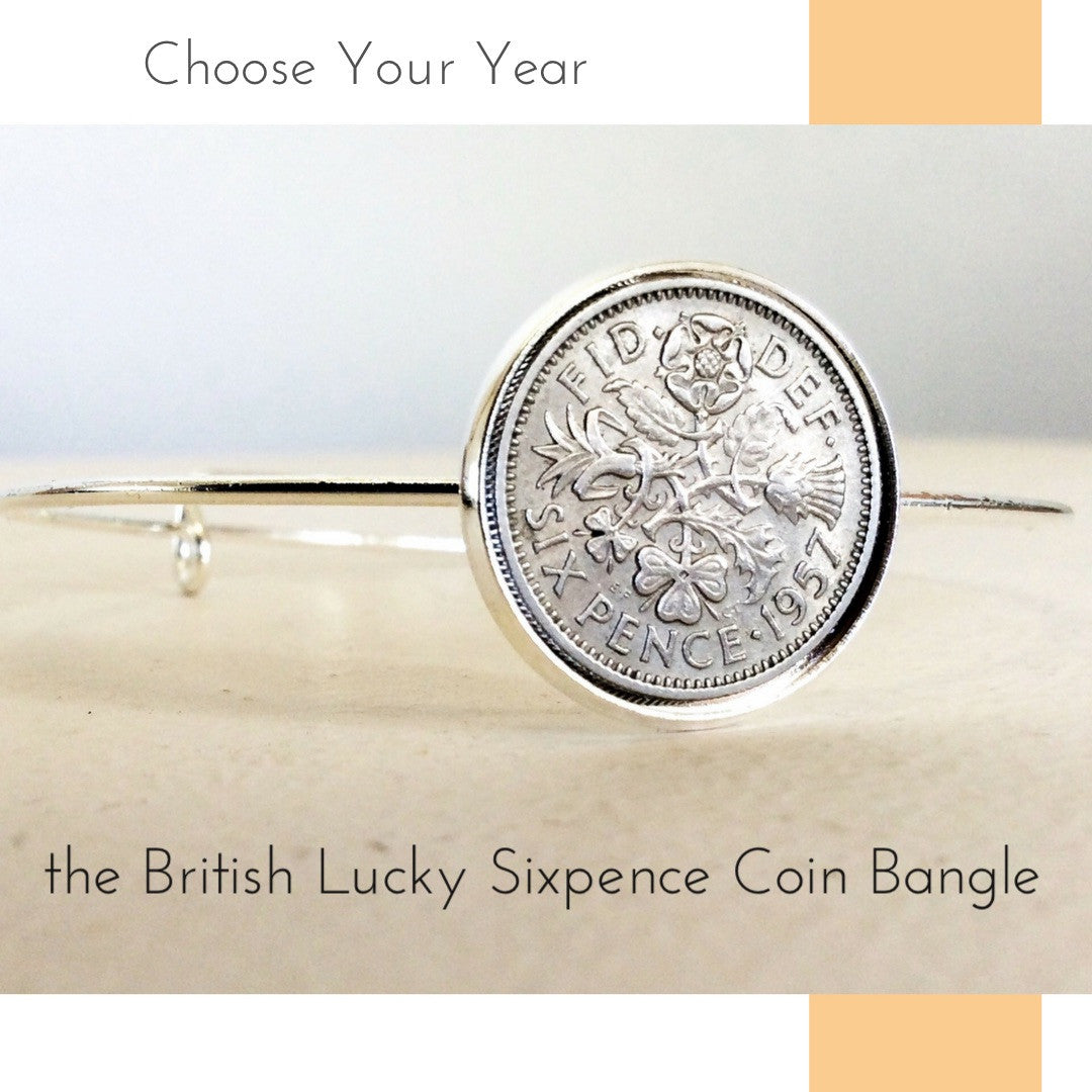 British Lucky sixpence coin bangle Choose your year