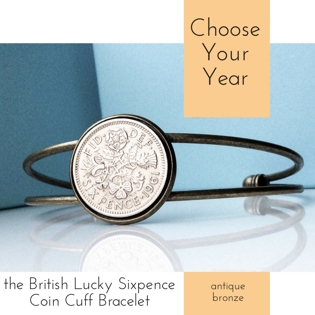 British Lucky Sixpence Coin Bracelet