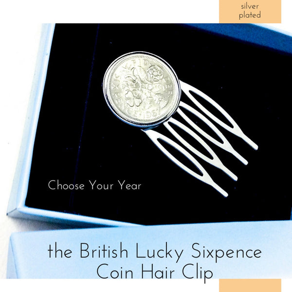 British Lucky Sixpence Coin Hair Clip  a great fashion accessory