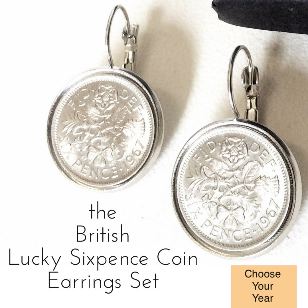 British Lucky Sixpence Earrings Set