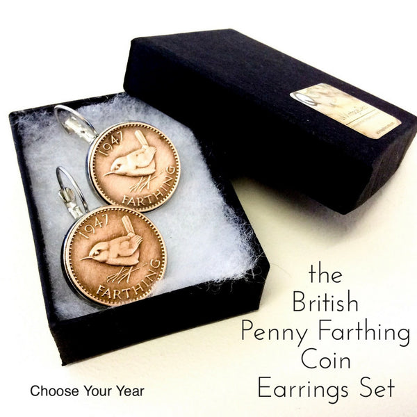 British Penny Farthing British Coin Earrings Set  Choose your year