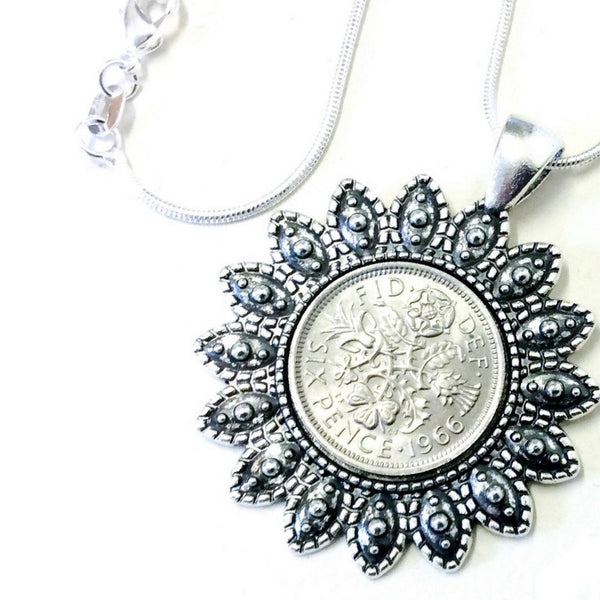 British Lucky Sixpence Coin Pendant Necklace The Cameo Flowers Choose your year