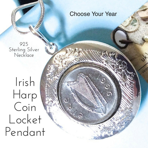Irish Harp Irish Coin Locket Pendant Necklace