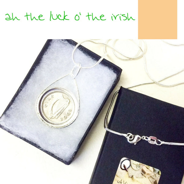 Irish Harp Coin Pendant Necklace