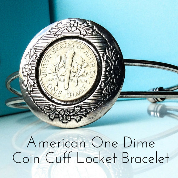American one dime coin locket bracelet