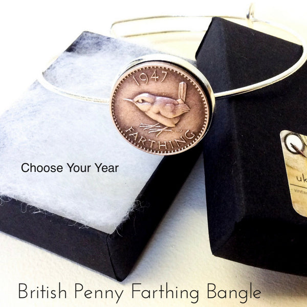 British Penny Farthing British Coin Bracelet Choose your year