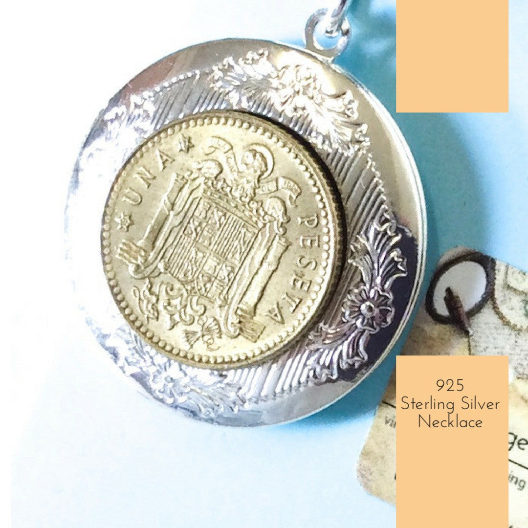 Spanish Coin Locket Pendant Necklace