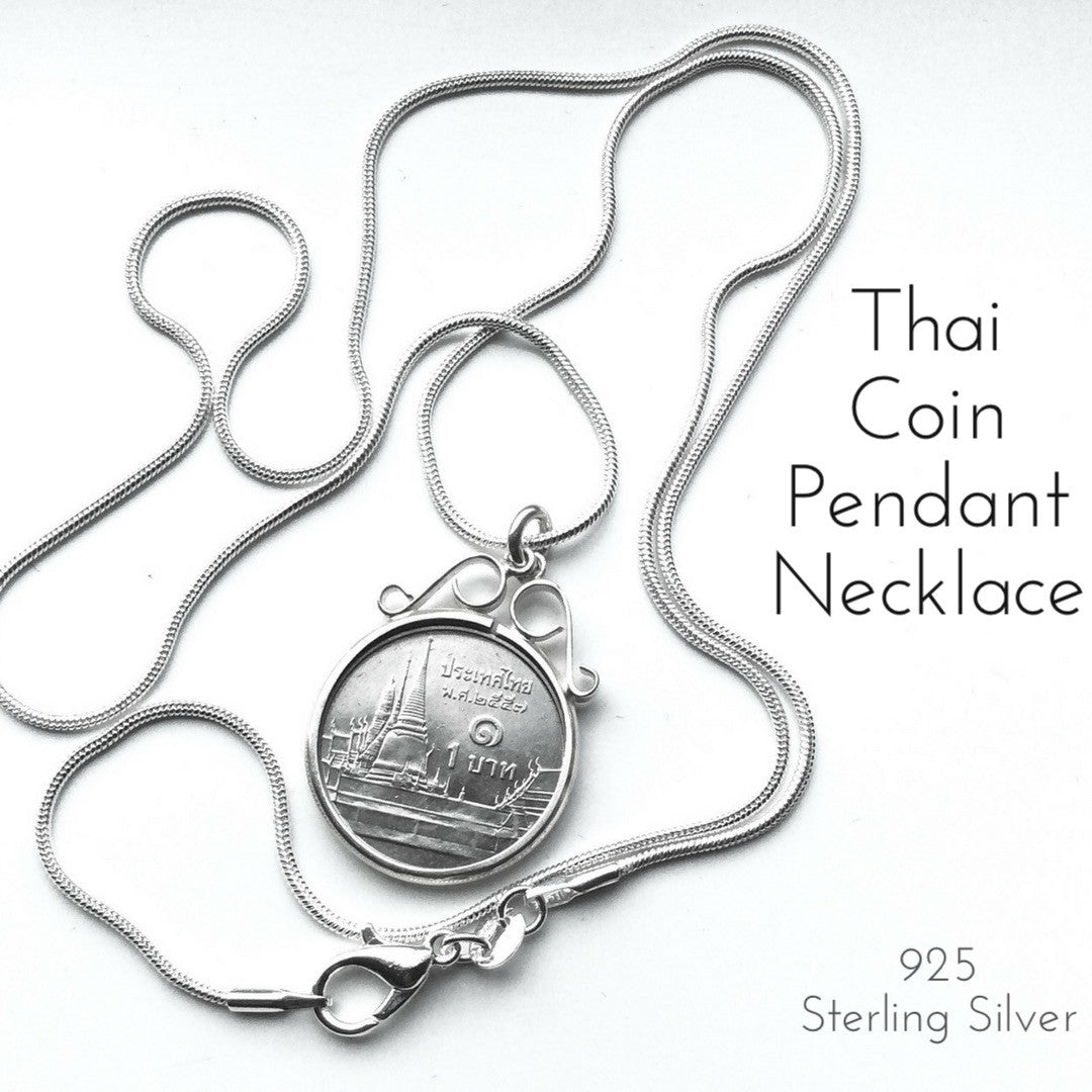 Thai Coin Pendant Necklace Sterling Silver