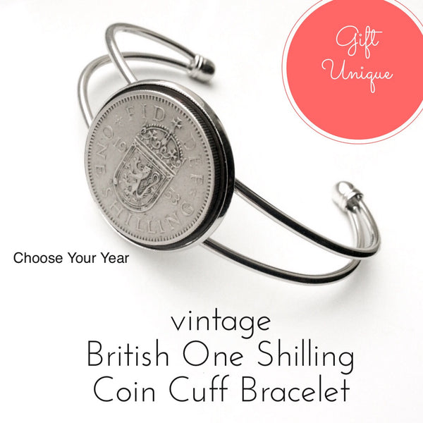 Old One Shilling British Coin Bracelet Choose your year