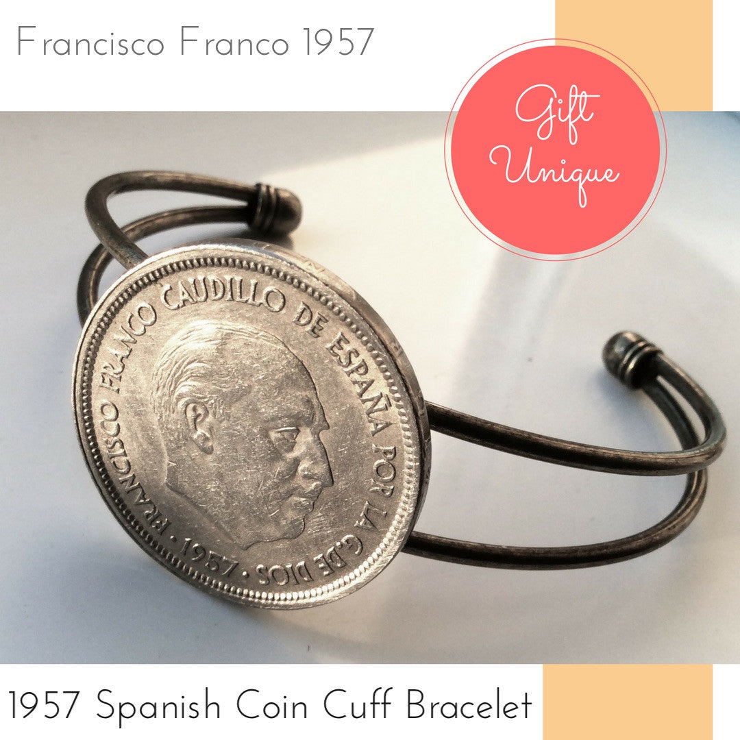 1957 francisco franco spanish twenty five coin bracelet