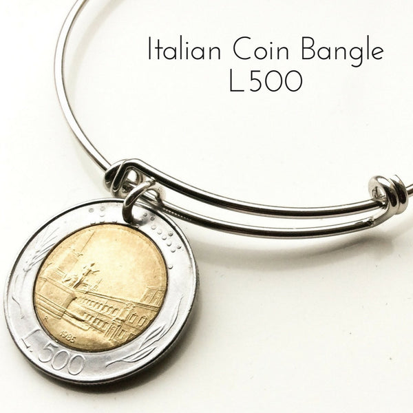 Italian Five Hundred Lire Coin Bangle L500