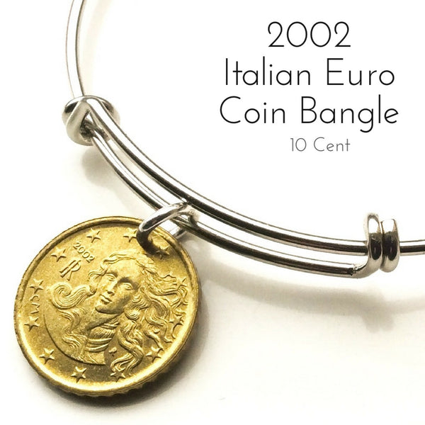 2002 italian ten cent euro coin bangle