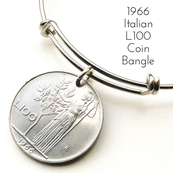 1966 italian one hundred lire coin bangle L100