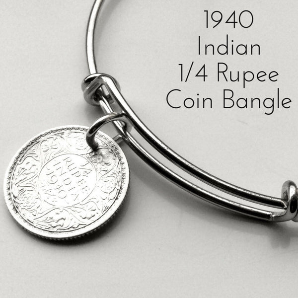 1940 one quarter rupee indian coin bangle