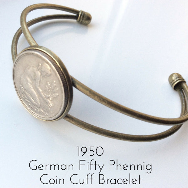 1950 fifty phennig german coin bracelet