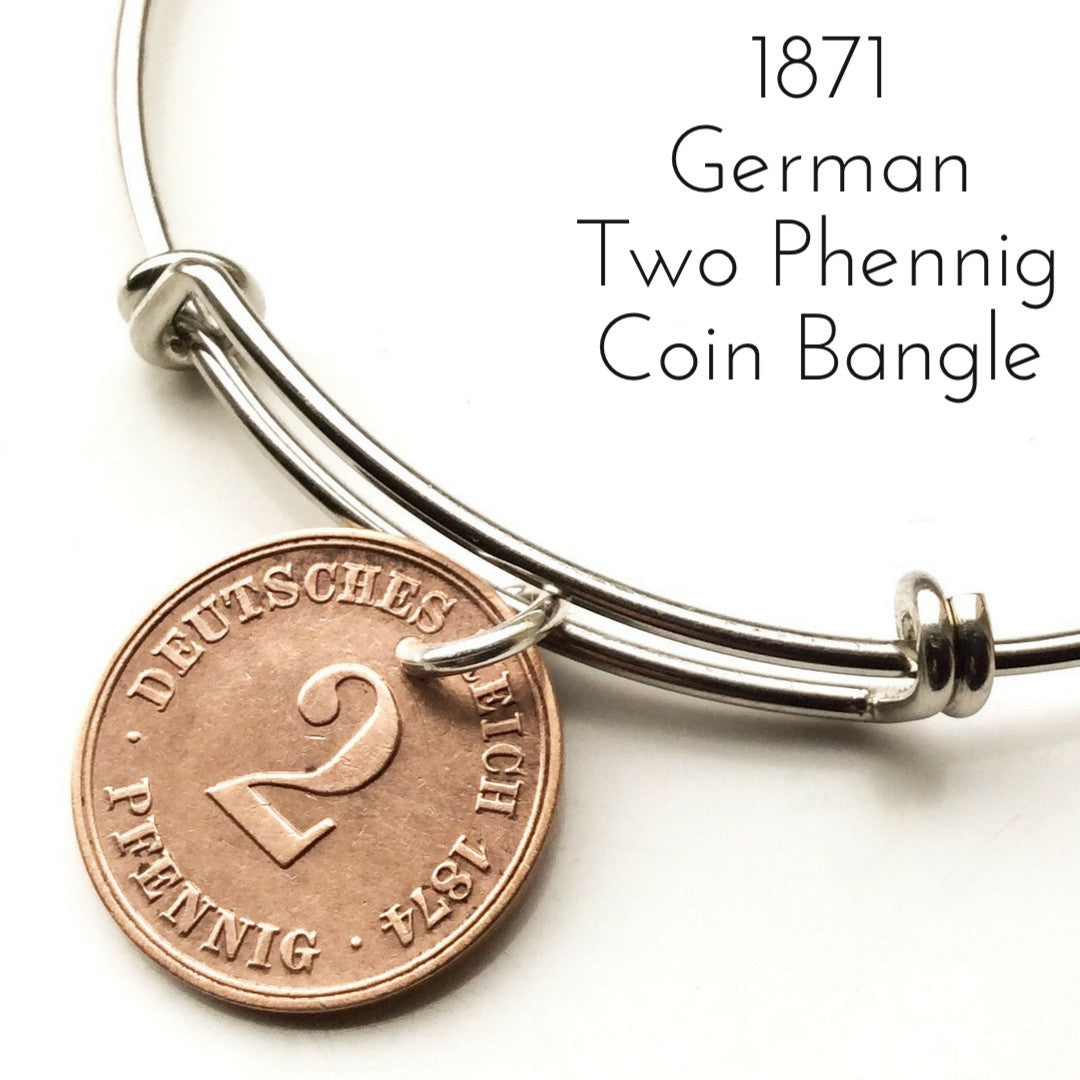 1871 two phennig german coin bangle