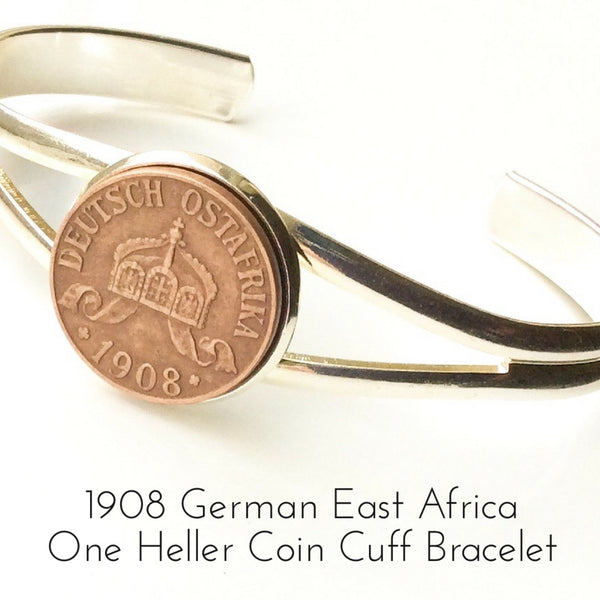 1908 one heller german east africa coin bracelet