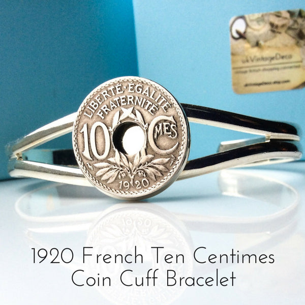 1920 ten centimes french coin bracelet