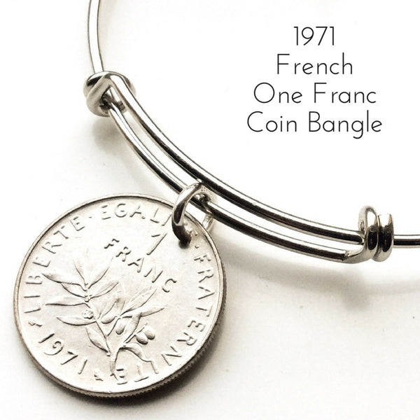 1971 one franc french coin bangle