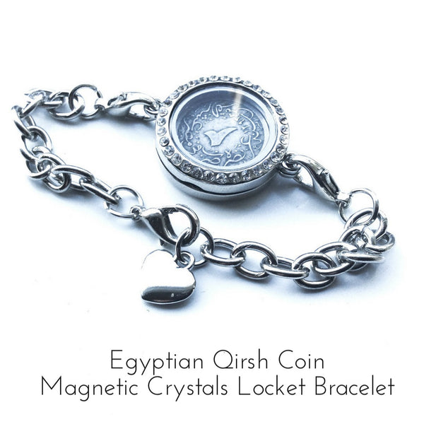 Egyptian Qirsh Coin Magnetic Crystals Locket Bracelet