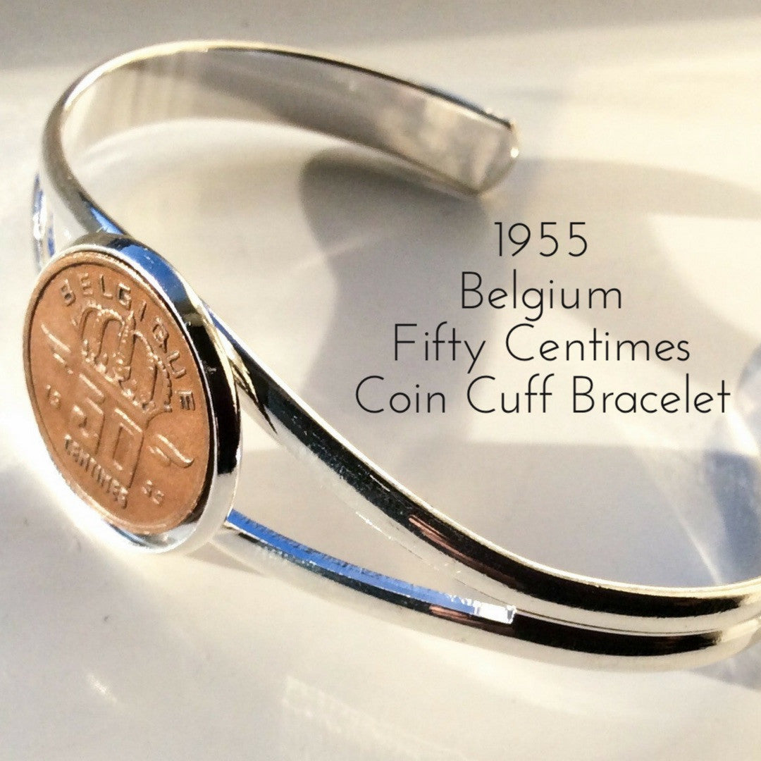1955 fifty centimes belgium coin bracelet