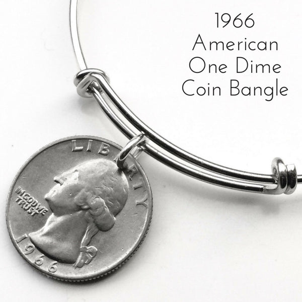 1966 american one dime coin bangle