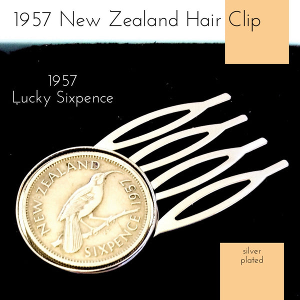 1957 New Zealand Sixpence Coin Hair Clip