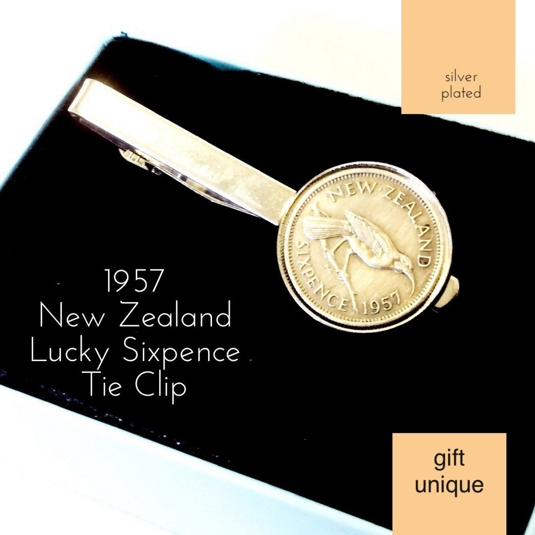 1957 New Zealand Sixpence Coin Tie Clip