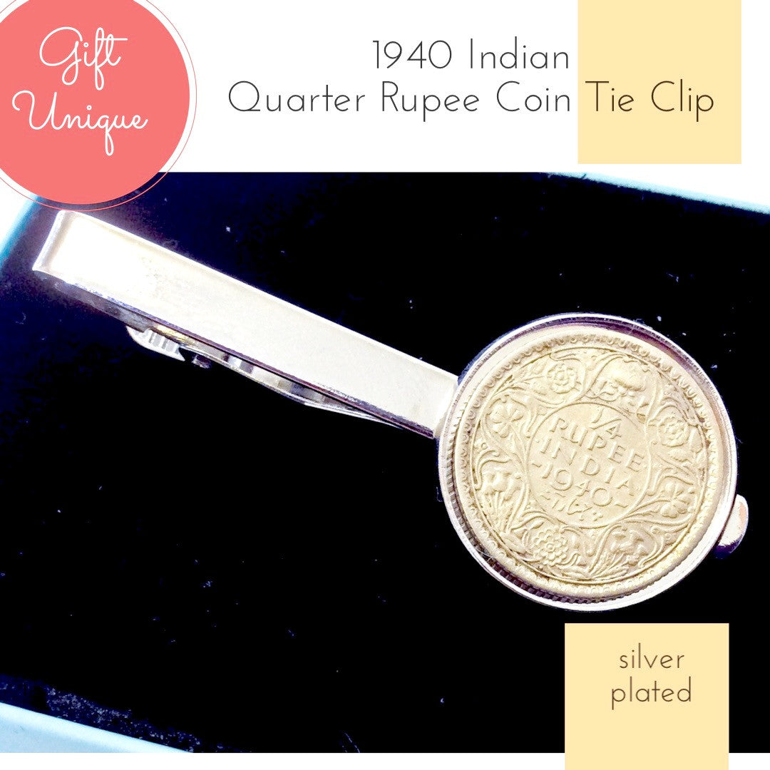Indian Coin Tie Clip 1940 Indian Quarter Rupee Coin Tie Clip