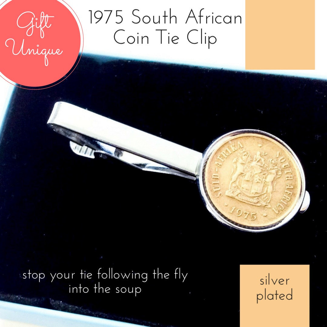 1975 South African Coin Tie Clip