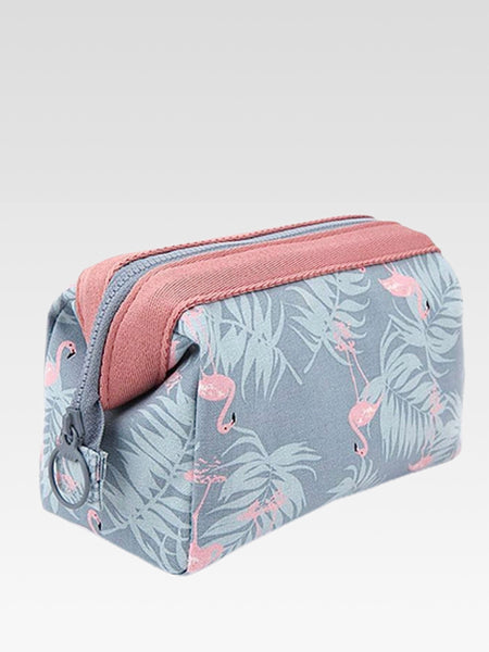 Cosmetic Bag    Waterproof pink flamingo dusk blue makeup bags Travel organizer toiletry kit storage beautician accessories Trend