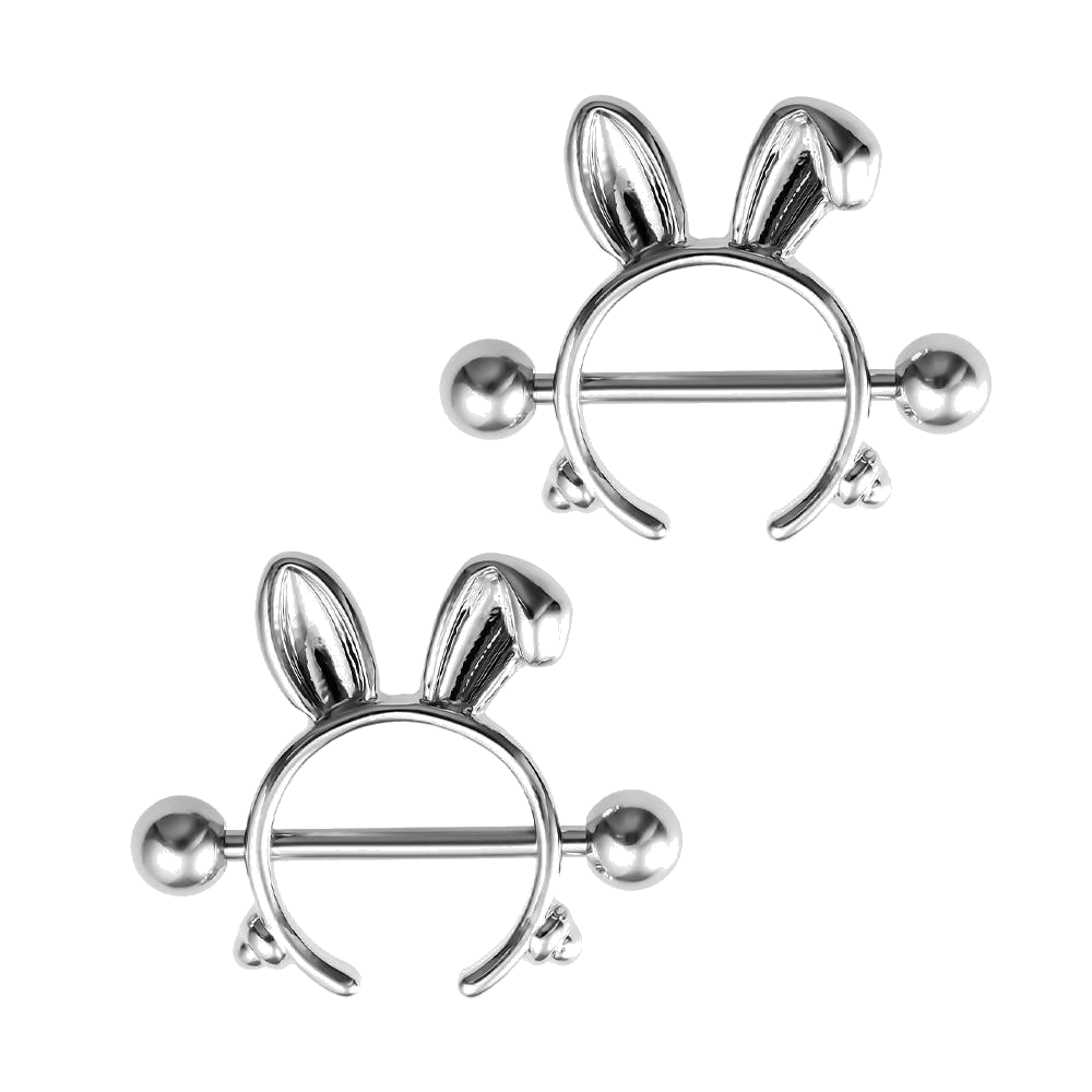 1 Pair Rabbit Nipple Rings