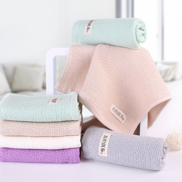 Japanese 34x74cm Natural Soft Cotton Face Towel Honeycomb Solid Color Bath Towels Japan Bathroom Linen Grey White Purple Green Towels