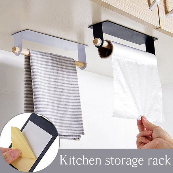 Trend Metal wall hanging Holder wood towel Shelf toilet paper organizer rag Holder plastic wrap film Storage Racks Kitchen Accessories