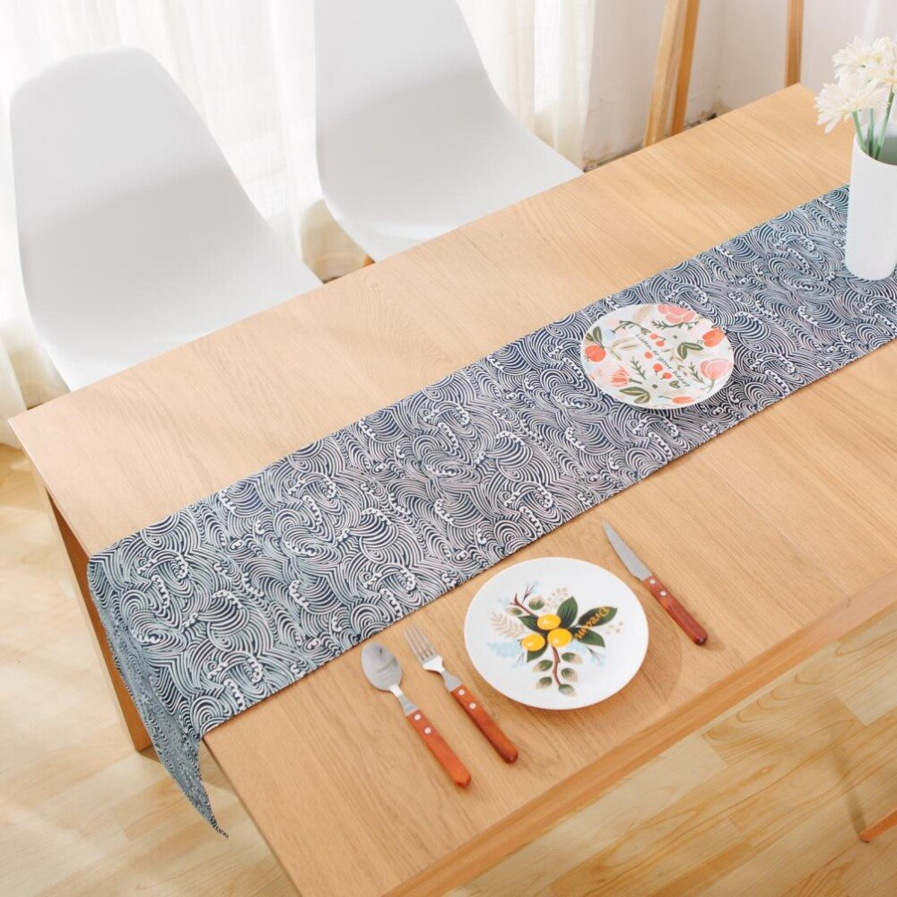 Trendy Japanese Zakka Spray Cotton linen Table Runner Japan Dining Room Linen Home Decor Accessories