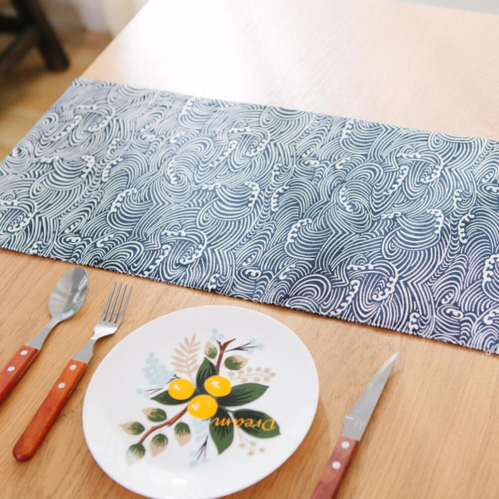 Japanese Zakka Spray Blue Cotton linen Table Runner Japan Dining Room Linen Home Decor Accessories