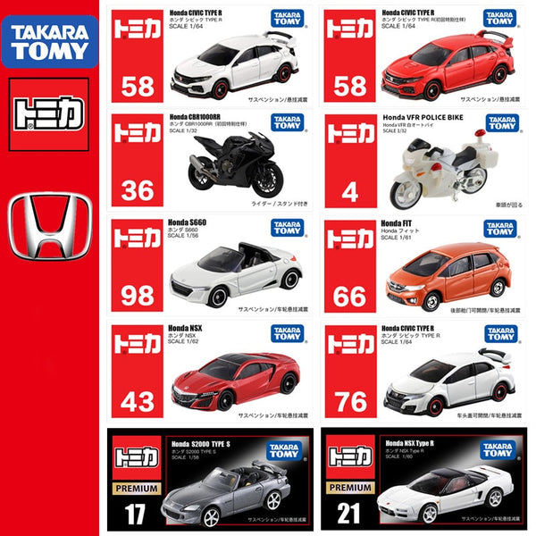 Japanese TOMICA HONDA series CR-V Fit S660 Civic TYPE R StepWagon NSX Super Cub N K-CAR RR VFR CR-Z Japan Takara Tomy Diecast metal model cars Child Kids Toy