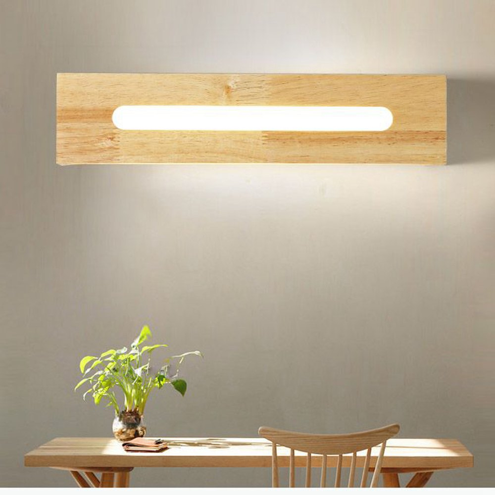 Trending Japanese LED Wooden Bathroom Wall Lights Mirror Front Bedroom Bedsides LED Wall Sconce Cabinet Japan Corridor Wall Lighting Fixtures