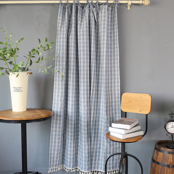 Trend Japanese Cotton Linen Simple Door Curtain Blue Plaid Tassel Hem Coffee Curtain Kitchen Cabinet Partition Curtains Japan Home Decor Textile