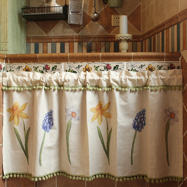 Japan Simplicity Half-curtain Daffodils Flower Roman Curtain Rice Yellow Cotton Linen Coffee Curtain for Kitchen Cabinet Door Japanese Curtains Home Decor Accessories