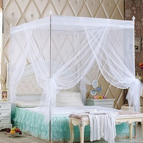 Trend White Romantic Princess Lace Canopy Mosquito Net No Frame for Twin Full Queen King Bed Mosquito Bedroom Furniture Accessories