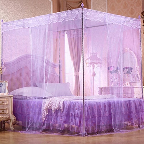 Purple Romantic Princess Lace Canopy Mosquito Net No Frame for Twin Full Queen King Bed Mosquito Bedroom Furniture Accessories