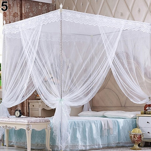 White Romantic Princess Lace Canopy Mosquito Net No Frame for Twin Full Queen King Bed Mosquito Bedroom Furniture Accessories
