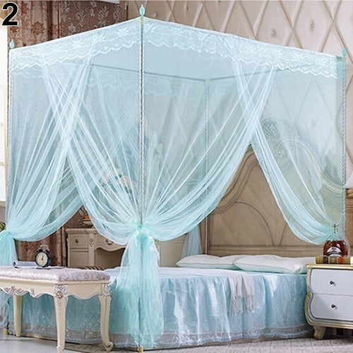 Trend Blue Romantic Princess Lace Canopy Mosquito Net No Frame for Twin Full Queen King Bed Mosquito Bedroom Furniture Accessories