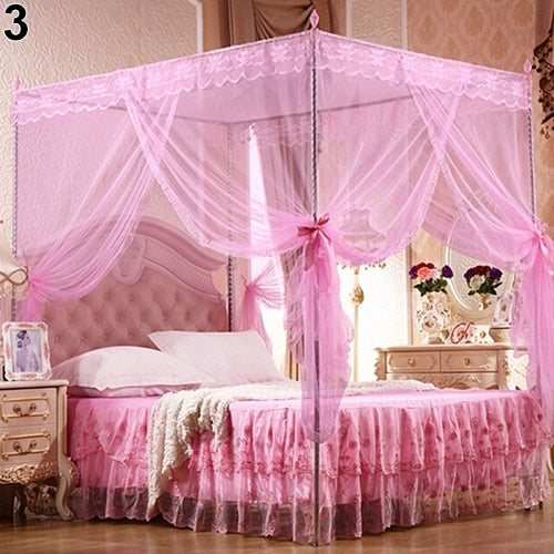 Trend Pink Romantic Princess Lace Canopy Mosquito Net No Frame for Twin Full Queen King Bed Mosquito Bedroom Furniture Accessories
