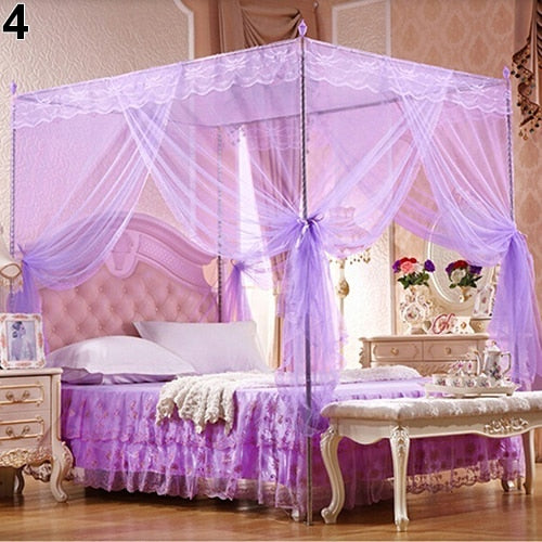 Trend Purple Romantic Princess Lace Canopy Mosquito Net No Frame for Twin Full Queen King Bed Mosquito Bedroom Furniture Accessories