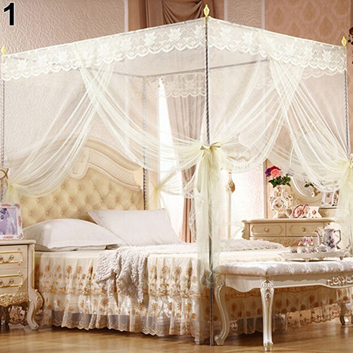 Trend Beige Romantic Princess Lace Canopy Mosquito Net No Frame for Twin Full Queen King Bed Mosquito Bedroom Furniture Accessories