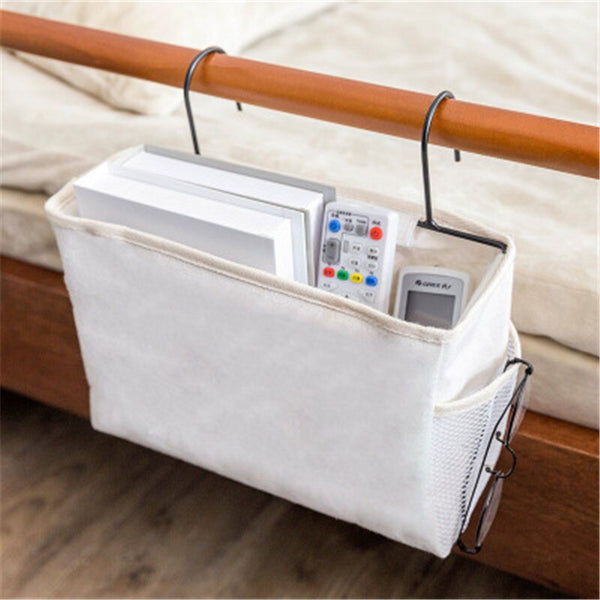 Trend White Canvas Iron Frame Hanging Bedside Storage Bag Organizer Room Phone Book Magazine Bag Holder With Hook Bed Pocket Home Decor Accessories