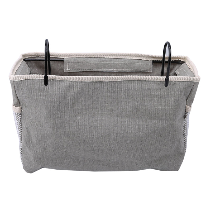 Trend Gray / Grey Canvas Iron Frame Hanging Bedside Storage Bag Organizer Room Phone Book Magazine Bag Holder With Hook Bed Pocket Home Decor Accessories