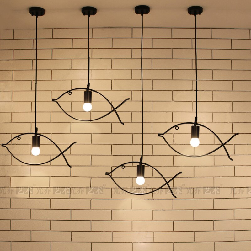 Contemporary Edison Iron Fish Frame Pendant Lamp Cafe Bar Dining Room Couture LED Decorative Ceiling Hanging Lamp Home Decor Lighting